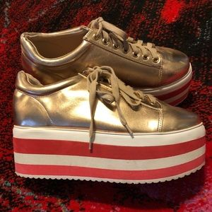Shoes - Platform Rose Gold sneakers w/pink striped soles
